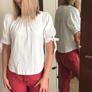 Anthropologie white blouse with bow accent